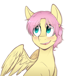 Size: 1490x1530 | Tagged: safe, artist:higgly-chan, fluttershy, pegasus, pony, adorascotch, blushing, bust, butterscotch, cute, looking away, looking up, male, open mouth, portrait, rule 63, rule63betes, shyabetes, simple background, smiling, solo, spread wings, stallion, white background, wings