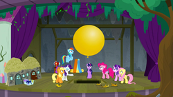 Size: 1280x720 | Tagged: safe, screencap, applejack, fluttershy, pinkie pie, rainbow dash, rarity, starlight glimmer, twilight sparkle, alicorn, earth pony, pegasus, pony, unicorn, horse play, balloon, female, fragments, mane six, mare, mouth hold, paint bucket, sewing machine, stage, trapdoor, twilight sparkle (alicorn)
