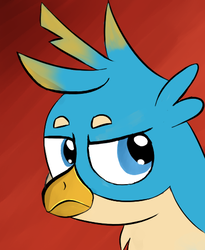 Size: 410x501 | Tagged: artist:itsthinking, bust, frown, gallus, glare, gradient background, griffon, portrait, red background, safe, simple background