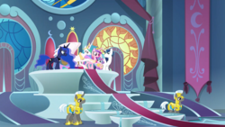 Size: 1920x1080 | Tagged: safe, screencap, princess cadance, princess celestia, princess flurry heart, princess luna, shining armor, alicorn, pony, unicorn, season 8, spoiler:s08, auntlestia, canterlot throne room, ethereal mane, female, intro, male, mare, momlestia, royal family, royal guard, stallion, throne room