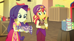 Size: 1912x1072 | Tagged: safe, screencap, rarity, sunset shimmer, equestria girls, movie magic, spoiler:eqg specials, arabian, cloth, clothes, costume, cute, fabric, india movie set, shimmerbetes, sunshim