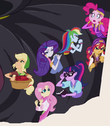 Size: 874x995 | Tagged: applejack, equestria girls, fluttershy, humane five, humane seven, humane six, mirror magic, pinkie pie, rainbow dash, rarity, safe, sci-twi, screencap, spoiler:eqg specials, sunset shimmer, sunshim, twilight sparkle