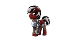 Size: 2560x1440 | Tagged: safe, artist:mysticalpha, oc, oc:firestorm, cyborg, pegasus, pony, fallout equestria, armor, artificial wings, augmented, clothes, jacket, leather, leather armor, leather jacket, male, mechanical wing, pipbuck, shading, simple background, solo, steel, wings