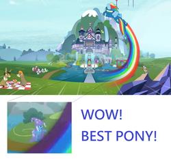 Size: 1916x1788 | Tagged: safe, screencap, bon bon, cheerilee, cranky doodle donkey, diamond tiara, liza doolots, lyra heartstrings, matilda, petunia, pipsqueak, rainbow dash, rainy feather, silver spoon, sunshower raindrops, sweetie drops, tootsie flute, trixie, zecora, donkey, earth pony, pegasus, pony, unicorn, zebra, spoiler:s08, best pony, clothes, flying, intro, meme, picnic, rainbow trail, school, school of friendship, speed trail, theme song, uniform, wonderbolts uniform, wow! glimmer