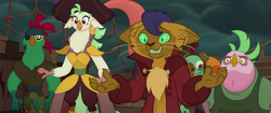 Size: 1920x804 | Tagged: safe, screencap, boyle, capper dapperpaws, captain celaeno, lix spittle, mullet (character), murdock, abyssinian, anthro, bird, cat, parrot, parrot pirates, my little pony: the movie, airship, clothes, derp, ear piercing, earring, female, floppy ears, jewelry, male, nervous, piercing, pirate, scared, squabble
