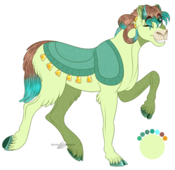 Size: 927x897 | Tagged: safe, artist:bijutsuyoukai, oc, oc only, hybrid, yakony, cloven hooves, colored hooves, interspecies offspring, offspring, one eye closed, parent:sandbar, parent:yona, parents:yonabar, raised hoof, simple background, solo, transparent background
