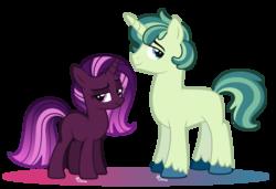 Size: 3434x2354   Tagged: safe, artist:strawberry-spritz, oc, oc only, pony, unicorn, base used, commission, duo, female, gradient mane, magical lesbian spawn, male, mare, next generation, offspring, parent:applejack, parent:shining armor, parent:tempest shadow, parent:twilight sparkle, parents:shiningjack, parents:tempestlight, raised eyebrow, simple background, stallion, transparent background, unshorn fetlocks