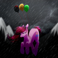 Size: 3000x3000 | Tagged: safe, artist:amai-aji, pinkie pie, earth pony, pony, balloon, crying, female, floating, mare, pinkamena diane pie, rain, sad, solo, then watch her balloons lift her up to the sky