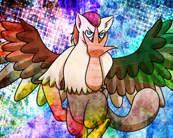 Size: 1875x1500 | Tagged: safe, artist:alittleofsomething, oc, oc:bolton, griffon, abstract background, jojo pose, jojo's bizarre adventure, looking at you, pose, solo, spread wings, wings