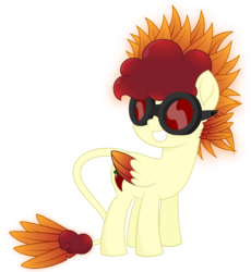 Size: 3500x3800 | Tagged: safe, artist:besttubahorse, oc, oc only, oc:chimie changa, hybrid, my little pony: the movie, .svg available, female, glow, goggles, high res, movie accurate, pegaphoenix, simple background, smiling, solo, svg, transparent background, vector