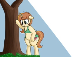 Size: 2800x2200 | Tagged: safe, artist:andelai, oc, oc only, oc:celice, unicorn, semi-anthro, arm hooves, belly, belly button, bipedal, bra on pony, chubby, clothes, grass, plump, simple background, solo, sports bra, thick, tired, tree, wide hips
