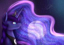 Size: 1024x725 | Tagged: safe, artist:shimmyyah, princess luna, alicorn, pony, female, mare, moon, night, signature, solo