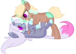 Size: 1024x730 | Tagged: safe, artist:kiara-kitten, oc, oc only, oc:blossom, oc:sandy, pony, unicorn, female, mare, on back, simple background, transparent background