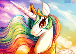 Size: 1280x901   Tagged: safe, artist:sushirolled, princess celestia, alicorn, pony, bust, female, mare, portrait, smiling, solo