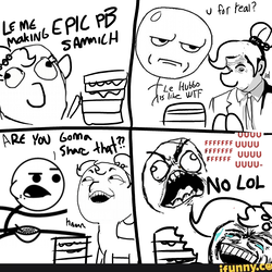 Size: 3000x3000 | Tagged: safe, artist:tjpones, oc, oc:brownie bun, oc:richard, earth pony, human, pony, horse wife, april fools, april fools 2018, are you fucking kidding me, cereal guy, comic, dialogue, female, food, fuuuuuu, human male, if you know what i mean, ifunny, le, lol, loss (meme), male, mare, meme, peanut butter, rage comic, rage face, sandwich, stylistic suck, text