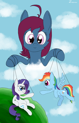 Size: 3217x4961 | Tagged: absurd res, artist:zaponator, female, god, lesbian, oc, oc:april showers, rainbow dash, raridash, rarity, safe, shipper on deck, shipping, the creation of adam