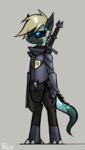 Size: 2400x4255 | Tagged: safe, artist:fenixdust, oc, oc:lily, dracony, hybrid, armor, bipedal, black sclera, female, mare, sword, weapon