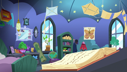 Size: 1920x1080 | Tagged: safe, screencap, applejack, fluttershy, pinkie pie, princess luna, rainbow dash, rarity, starlight glimmer, trixie, twilight sparkle, alicorn, butterfly, earth pony, pegasus, pony, unicorn, the maud couple, bed, book, candle, female, globe, kite, mane six, mare, mirror, poster, potted plant, scroll, starlight's room, that pony sure does love kites, twilight sparkle (alicorn)