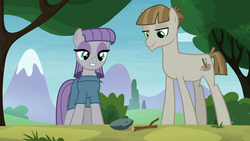 Size: 1920x1080 | Tagged: safe, screencap, boulder (pet), maud pie, mudbriar, twiggy (pet), earth pony, pony, the maud couple, female, male, maudbriar, shipping, smiling, straight, when she smiles