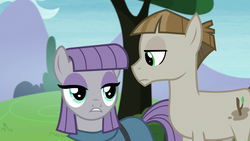 Size: 1920x1080 | Tagged: safe, edit, edited screencap, screencap, maud pie, mudbriar, the maud couple, female, frown, inverted mouth, male, maudbriar, shipping, straight