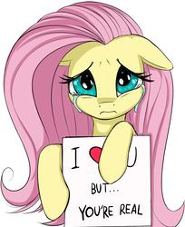 Size: 873x1068   Tagged: safe, artist:coinpo, derpibooru exclusive, fluttershy, pegasus, pony, 3:, bronybait, crying, cute, female, fiction ensues, floppy ears, frown, heart, hoof hold, looking at you, mare, reality ensues, reality sucks, sad, shyabetes, sign, simple background, solo, white background, why live?