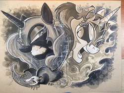 Size: 2048x1536 | Tagged: safe, artist:andypriceart, daybreaker, nightmare moon, philomena, tiberius, alicorn, opossum, phoenix, pony, andy you magnificent bastard, crown, duo, grayscale, jewelry, looking at each other, looking at you, monochrome, regalia, traditional art