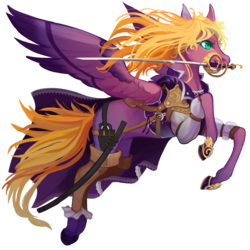 Size: 3000x3000 | Tagged: safe, artist:sitaart, oc, oc only, oc:flowing grace, pegasus, pony, ponyfinder, armor, blonde, blonde hair, blonde mane, clothes, dungeons and dragons, fantasy class, feather, female, green eyes, leather armor, mare, pathfinder, pen and paper rpg, raised hoof, rapier, rpg, simple background, solo, spread wings, sword, transparent background, weapon, wings
