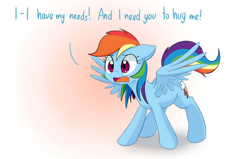 Size: 1197x834 | Tagged: safe, artist:adequality, artist:mcsadat, edit, editor:anonymous, rainbow dash, pegasus, pony, rainbow dash presents, bronybait, cute, dashabetes, demands, dialogue, featured image, female, floppy ears, frown, gradient background, hug, hug request, mare, needy, open mouth, pointless edit, solo, spread wings, this will end in hugs, wide eyes, wings