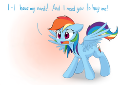 Size: 1197x834 | Tagged: safe, artist:adequality, artist:mcsadat, edit, editor:anonymous, rainbow dash, pegasus, pony, rainbow dash presents, bronybait, cute, daaaaaaaaaaaw, dashabetes, demands, dialogue, featured image, female, floppy ears, frown, gradient background, hug, hug request, mare, needy, open mouth, solo, spread wings, sweet dreams fuel, this will end in hugs, volumetric mouth, weapons-grade cute, wide eyes, wings