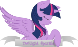 Size: 4964x3033 | Tagged: absurd res, alicorn, artist:kopcap94, artist:php27, banner, colored, color edit, cutie mark, edit, eyes closed, female, mare, pony, profile, safe, simple background, smiling, solo, spread wings, transparent background, twilight sparkle, twilight sparkle (alicorn), vector, vector edit, wings