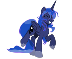 Size: 4541x3713 | Tagged: absurd res, alicorn, artist:kopcap94, artist:kp-shadowsquirrel, colored, color edit, cutie mark, edit, eyes closed, female, grin, happy, mare, pony, princess luna, puddle, safe, simple background, smiling, solo, transparent background, vector, vector edit, water, wet mane