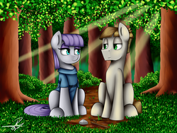 Size: 1600x1200 | Tagged: safe, artist:supermoix, boulder (pet), maud pie, mudbriar, twiggy (pet), complex background, crepuscular rays, cute, female, forest, grass, male, maudbriar, shipping, straight, tree