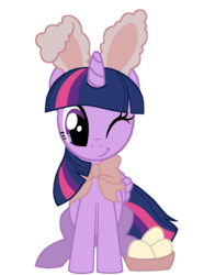 Size: 1500x2018   Tagged: safe, artist:lonewolf3878, twilight sparkle, alicorn, basket, bow, bunny ears, cute, easter, easter egg, egg (food), female, food, holiday, looking at you, one eye closed, simple background, sitting, smiling, solo, transparent background, twiabetes, twilight sparkle (alicorn), vector, weapons-grade cute, wink
