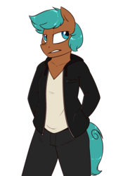 Size: 1400x2000   Tagged: safe, artist:notenoughapples, oc, oc only, oc:apples, earth pony, anthro, anthro oc, clothes, hand in pocket, male, pants, shirt, simple background, solo, stallion, transparent background