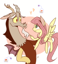 Size: 900x991 | Tagged: artist:sansdy, blushing, discord, discordant harmony, discoshy, draconequus, female, fluttershy, heart, looking at each other, male, mare, pegasus, pony, safe, shipping, smiling, spread wings, straight, teabag, wings