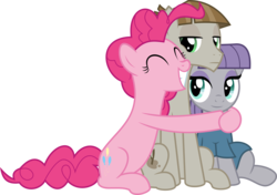 Size: 5003x3519 | Tagged: safe, artist:jhayarr23, maud pie, mudbriar, pinkie pie, the maud couple, female, happy, hug, male, maudbriar, shipping, simple background, smiling, straight, transparent background, vector