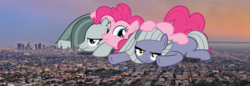 Size: 1968x680 | Tagged: safe, limestone pie, marble pie, pinkie pie, pony, the maud couple, annoyed, california, city, female, giant ponies in real life, giant pony, giantess, irl, los angeles, macro, photo, ponies in real life, smiling