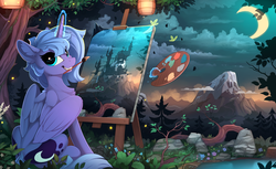 Size: 2310x1410 | Tagged: safe, artist:yakovlev-vad, princess luna, alicorn, pony, castle, cloud, crescent moon, cute, drawing, female, forest, glowing horn, grin, horn, lantern, levitation, looking at you, looking back, looking back at you, lunabetes, magic, mare, moon, mountain, mouth hold, nature, night, painting, paper lantern, plein air, pond, s1 luna, scenery, scenery porn, sitting, sky, smiling, solo, squee, still life, sweet dreams fuel, telekinesis, tree, water, wings