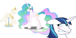 Size: 3932x2011 | Tagged: safe, artist:byteslice, artist:firestorm-can, artist:sketchmcreations, artist:spacekingofspace, edit, editor:slayerbvc, princess celestia, shining armor, alicorn, unicorn, accessory-less edit, barehoof, blushing, crown, embarrassed, female, horseshoes, jewelry, lip bite, looking back, male, mare, peytral, ponyquin, regalia, simple background, stallion, transparent background, we don't normally wear clothes