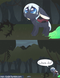 Size: 2550x3300 | Tagged: safe, artist:noodlefreak88, oc, oc only, oc:gidjit, ladybug, pony, tumblr:ask-gidjit, comic, disguise, disguised changeling, everfree forest, rain, sad, solo, wet