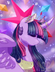 Size: 2000x2600 | Tagged: safe, artist:cloureed, twilight sparkle, alicorn, pony, curved horn, eyes closed, horn jewelry, lightly watermarked, queen twilight, solo, twilight sparkle (alicorn), watermark