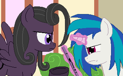 Size: 640x400 | Tagged: artist:herooftime1000, bush, dj pon-3, oc, oc:bittersweet nocturne, octavia in the underworld's cello, pixel art, ponyville, record, safe, vinyl scratch, wall