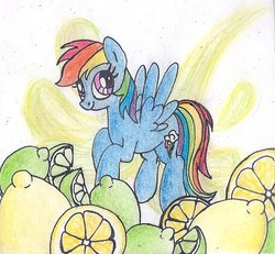 Size: 604x557 | Tagged: safe, artist:pony-paint, part of a set, rainbow dash, pegasus, pony, abstract background, cute, dashabetes, female, flying, food, fruit, lemon, lime, looking at you, looking sideways, looking up, mare, smiling, solo, spread wings, three quarter view, traditional art, wings