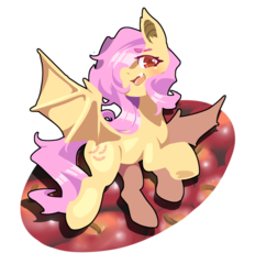 Size: 1300x1400 | Tagged: apple, artist:馬文, bat pony, bat wings, cute, eyebrows visible through hair, female, flutterbat, fluttershy, food, hair over one eye, head turn, looking at you, mare, open mouth, pony, race swap, red eyes, safe, shyabates, shyabetes, simple background, solo, species swap, spread wings, transparent background, wings