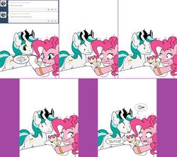 Size: 1808x1604   Tagged: safe, artist:dekomaru, pinkie pie, oc, oc:confetti, oc:dazzle, alicorn, earth pony, pony, unicorn, tumblr:ask twixie, alicorn oc, ask, baby, baby pony, comic, offspring, parent:oc:dazzle, parent:pinkie pie, parents:canon x oc, pinkie logic, tumblr