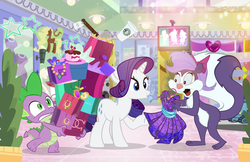 Size: 1024x662 | Tagged: artist:pixelkitties, cake, clothes, crossover, dragon, dress, duckface, female, fifi la fume, food, jewelry, lipstick, mare, necklace, plate, pony, rarity, safe, skunk, spike, starbucks, tiny toon adventures, unicorn