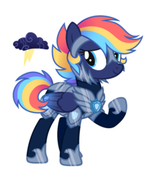 Size: 1420x1642 | Tagged: armor, artist:darlyjay, female, mare, oc, oc:west rain, offspring, parent:rainbow dash, parent:soarin', parents:soarindash, pegasus, pony, safe, simple background, solo, transparent background