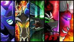 Size: 9000x5100 | Tagged: safe, artist:flamevulture17, discord, king sombra, lord tirek, nightmare moon, queen chrysalis, alicorn, centaur, changeling, changeling queen, draconequus, pony, unicorn, absurd resolution, antagonist, bust, every villain, female, glowing eyes, glowing horn, grin, looking at you, magic, male, moon, nose piercing, nose ring, open mouth, piercing, portrait, sharp teeth, smiling, stallion, teeth