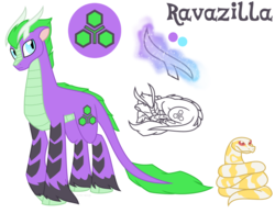 Size: 900x700   Tagged: safe, artist:faith-wolff, oc, oc only, oc:ravazilla, kirin, original species, python, snake, antlers, cloven hooves, colored hooves, command and conquer, commission, cutie mark, leucism, magic, magic aura, male, pet, reference sheet, simple background, sleeping, tiberium, unshorn fetlocks, white background