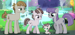 Size: 6936x3232 | Tagged: safe, artist:velveagicsentryyt, maud pie, mudbriar, oc, oc:stonelart, earth pony, pony, baby, baby pony, colt, family, female, filly, male, maud's cave, maudbriar, missing accessory, offspring, parent:maud pie, parent:mud briar, parents:maudbriar, shipping, siblings, straight, wrong cutie mark